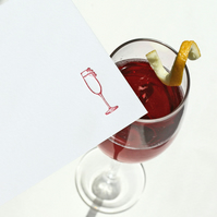 Letterpress Kir Royale cocktail notecards (postcards)