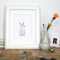 Rabbit A5 Letterpress Art Print