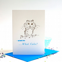 What Cake Birthday Card - Letterpress Hamster