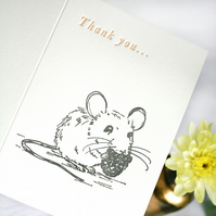 Thankyou Card - Letterpress with a cute mouse