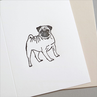 Pug Card letterpress Greeting Card for all Occasions and animal lovers