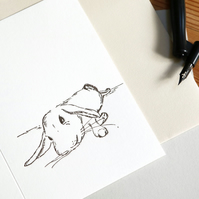 Rabbit Relaxing Blank Letterpress Card