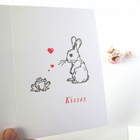 Valentines Card Letterpress frog kisses  - bunny love valentines day card