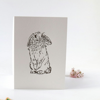Lop eared rabbit letterpress Easter greetings card, lop ear bunny rabbit card