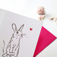 Valentines Card Letterpress Rabbit with a heart