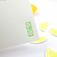 Gin and Tonic Letterpress notecards set of 8 with envelopes