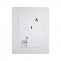 Letterpress Art Print, little sleeping mouse mounted Art Print 10 x 8""