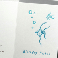 Birthday Fishes, birthday wishes, birthday card for men, birthday card, fish