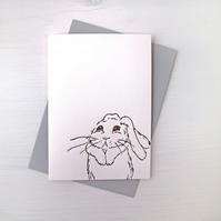 Rabbit Letterpress Card, cute rabbit card, sorry card, rabbit lover card