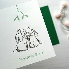 Rabbit Christmas Card, letterpress christmas card, christmas greetings bunny