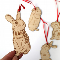 rabbit christmas tree decorations, Dad, rabbit christmas decor, bunny christmas