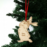 rabbit christmas tree decorations, son, boy bunny rabbit decoration