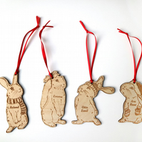 Personalised rabbit family christmas tree decorations, set of 4