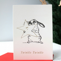 Rabbit Christmas Card, Twinkle Twinkle, Star Christmas card, letterpress card