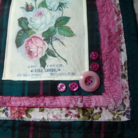 Pink Vintage Rose upcycled cushion