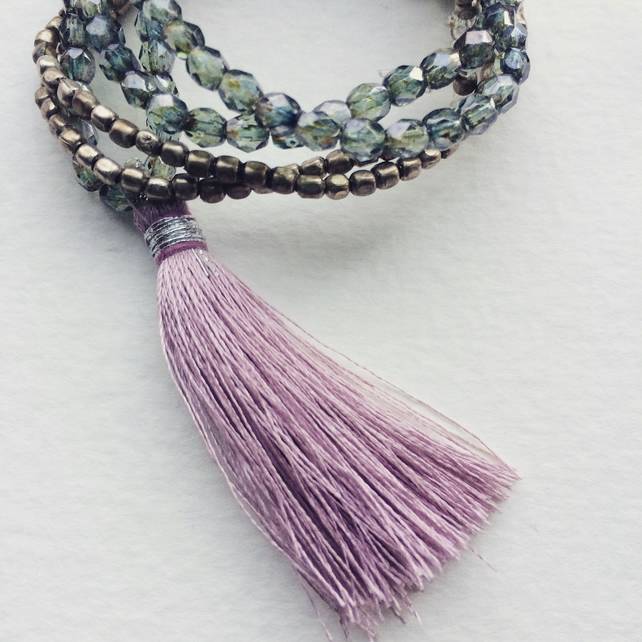 Lavender Tassel and Bead Necklace