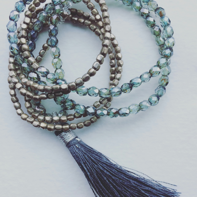 Smokey Beaded and Tassel Necklace