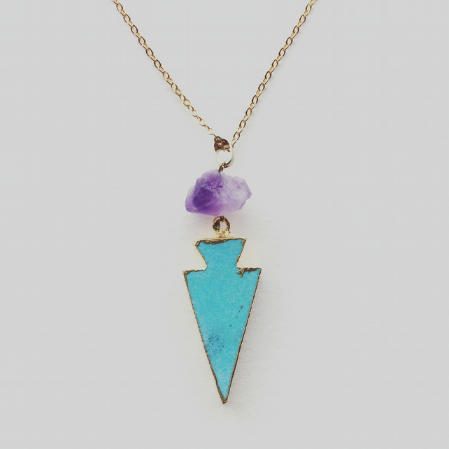 Nouri Gold Vermeil, Turquoise and Amethyst Arrowhead Necklace