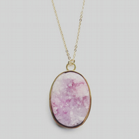 Minippe Pink Druzy and Gold Vermeil Pendant