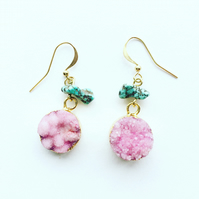 Rita Pink Druzy Turquoise and Gold Vermeil Drop Earrings