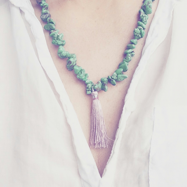 Dusty Beaded and Tassel Necklace