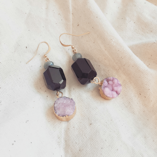 Labradorite Druzy and Onyx Drop Earrings
