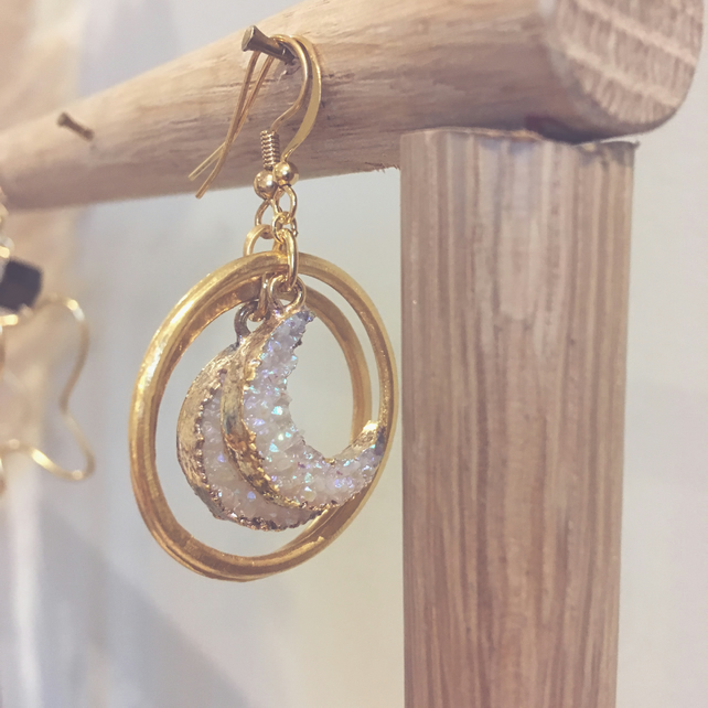 Druzy Moon and Gold Vermeil Hoop Earrings