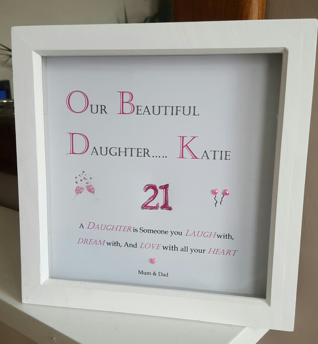 Personalised Wooden Box Frame for 21st Birthday... - Folksy