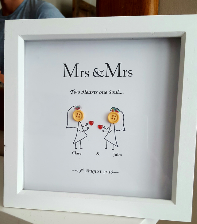 Personalised Wooden Box Frame Button Heads Wedd... - Folksy