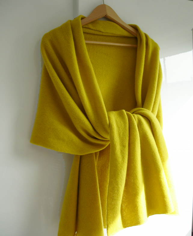 Lambswool Wrap  Shawl - British Spun Wool - Colour Sunflower Yellow