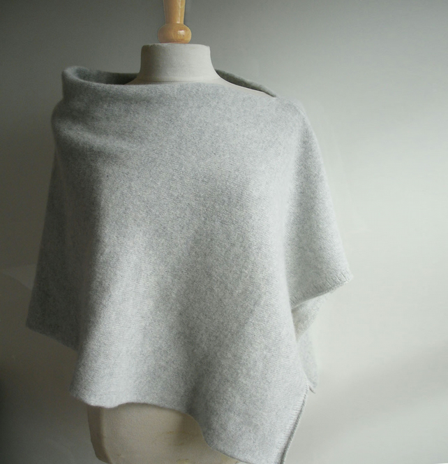 Poncho Knitted in Pure Lambswool in British Spun Wool Colour Palest Grey