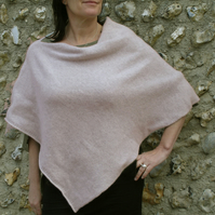 Poncho Knitted in Lambswool in British Spun Wool Colour Putty