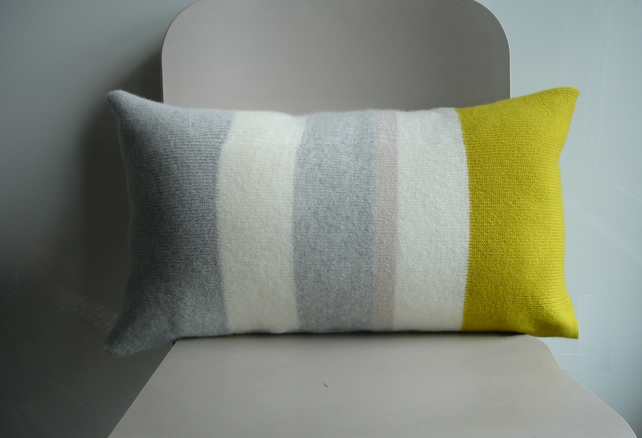 Cushion knitted in lambswool with feather pad - contemporary yellow grey stripe