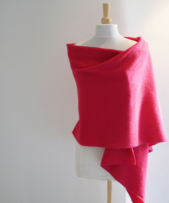 Wrap - Shawl -  handcrafted From British Spun Lambswool - Colour Raspberry
