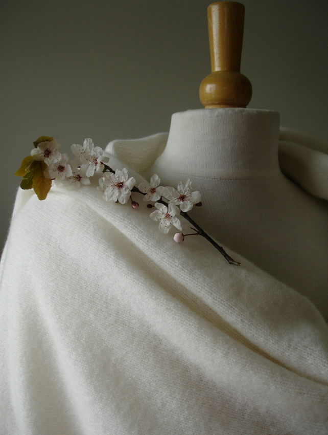 Lambswool Bridal Shawl  - Wrap -  Colour Warm White