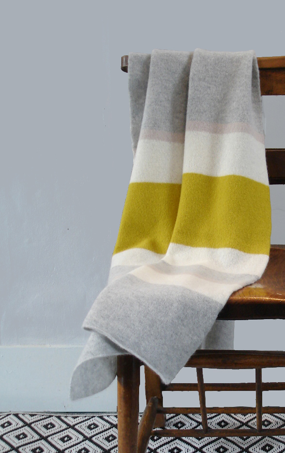 Throw blanket - runner - knitted in lambswool - yellow grey white putty stripe