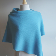 Poncho Knitted in Pure Lambswool in British Spun Wool Colour Rich Aqua