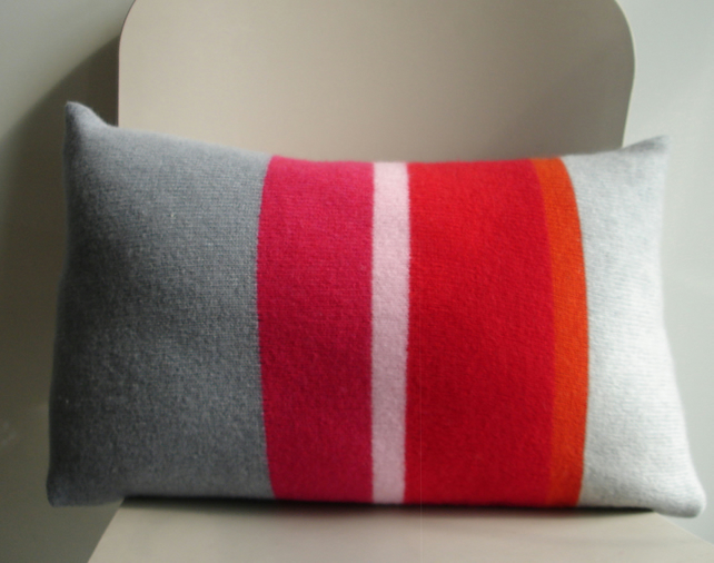 Cushion knitted in lambswool - grey orange red candy & raspberry stripe