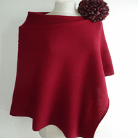 Lambswool Knitted Poncho colour Cranberry Red