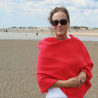 Lambswool Wrap - British Spun Wool - Colour Hot Chilli Red