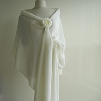 Wedding Shawl - Wrap Fine Merino Lambswool White