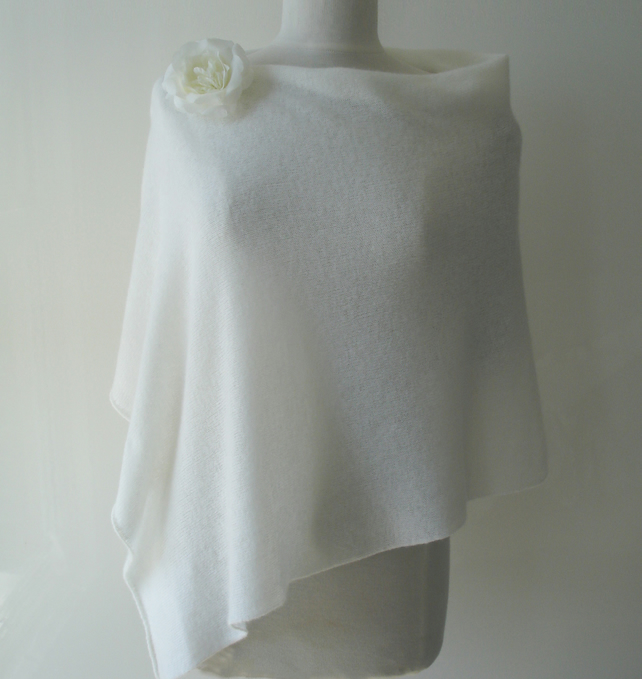 Poncho Wedding Cover-up - Fine Knit Merino Lambswool White