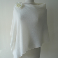 Wedding Cover-up - Poncho - Fine Knit Merino Lambswool White