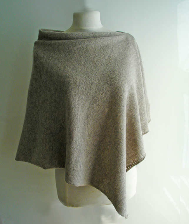Lambswool Poncho knitted in British Spun Wool Colour Birch