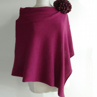 Lambswool Poncho knitted in British Spun Wool Colour Plum