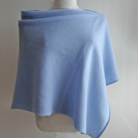 Lambswool Poncho knitted in British Spun Wool Colour Ice Blue