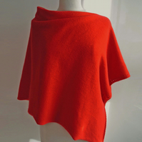 Lambswool Poncho knitted in British Spun Wool Colour Hot Chilli Red