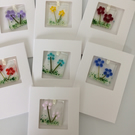 Fused glass floral keepsake card
