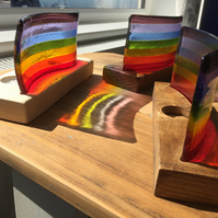 Fused glass rainbow curve or wave in handmade wooden stand
