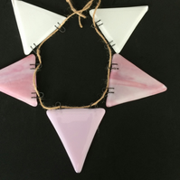 Fused glass bunting. Pinks and white or Blues and white. State which colour requ